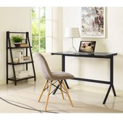 Walker Edison Home Office Glass Metal Desk and Shelf Combo