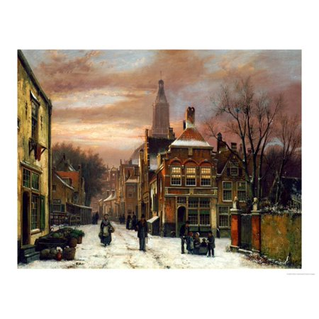A Wintery Scene: a Dutch Street with Numerous Figures Print Wall Art By Willem Koekkoek