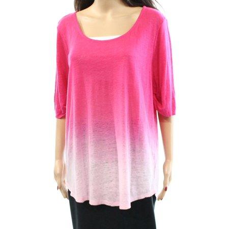 Lauren Ralph Lauren Womens Plus Ombre Linen Pullover Top Pink 1X