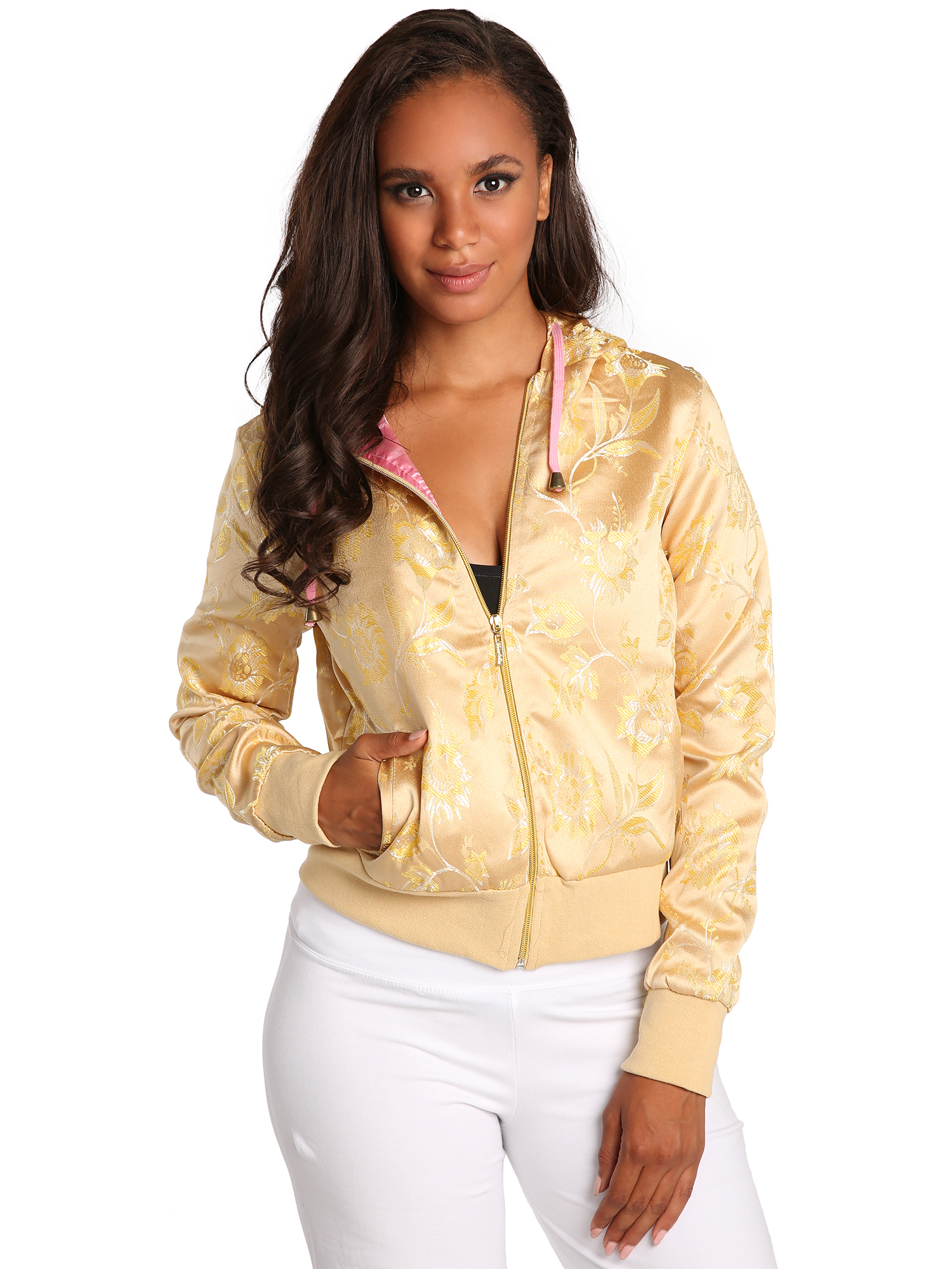 Sweet Vibes Junior Womens Hoodie Jackets Gold Tapestry Woven Zip Up Pink Lining