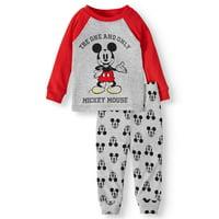 Mickey Mouse Baby Boy Long Sleeve Cotton Snug Fit Pajamas, 2Pc Set