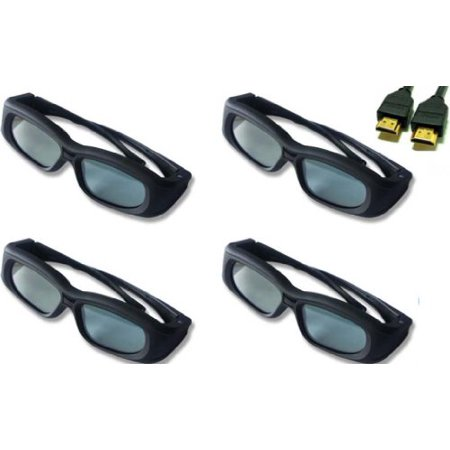 Sony HX920 Compatible 3D Shutter Glasses Bundle of 4 and 1 Free 3D HDMI Cable