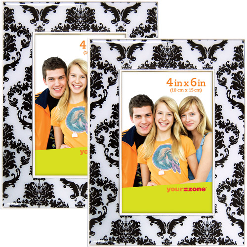 your zone 4x6 brocade picture frame, black and white, set of 2