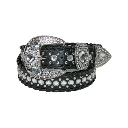 Women's Western Belt with Rhinestones and Studs Stud Studded Black Belt