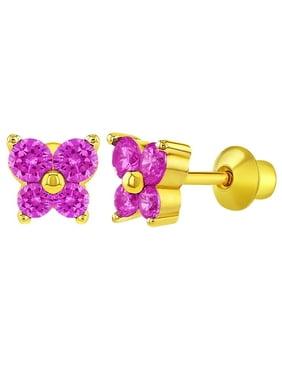 18k gold plated fuchsia pink butterfly screw back baby girls kids earrings