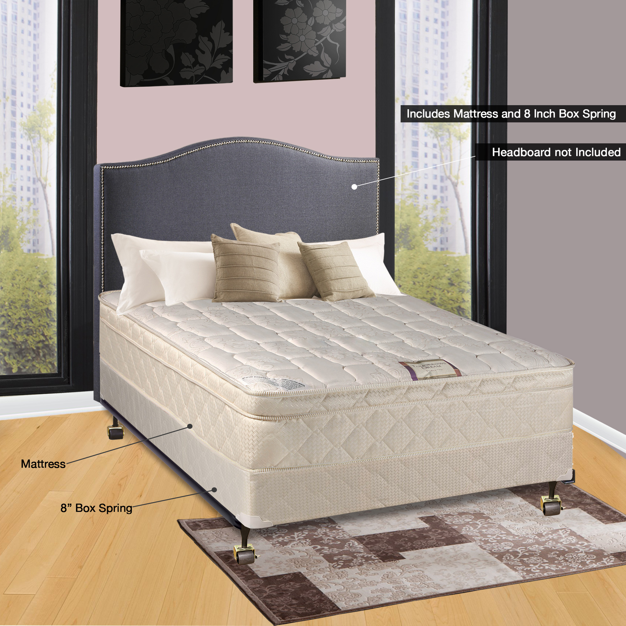 "Spinal Solution 9"" Pillowtop Fully Assembled Orthopedic Mattress and 5-inch Box Spring, Full XL"