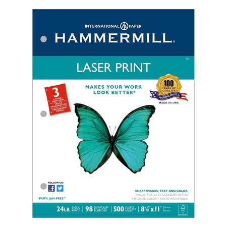 - Hammermill - Laser Print Paper, 24lb, 98 Bright, 3 Hole Punched - Ream
