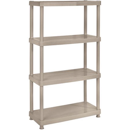 Keter Plastic 4-Tier Shelf, 16″ x 34″ Resin Shelving Unit, Sand