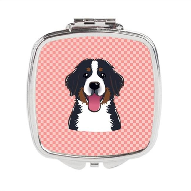 Carolines Treasures BB1237SCM Checkerboard Pink Bernese Mountain Dog Compact Mirror, 2. 75 x 3 x . 3 inch