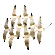 Flock of Flying Seagulls Painted Metal Wall Plaque 18 Inches