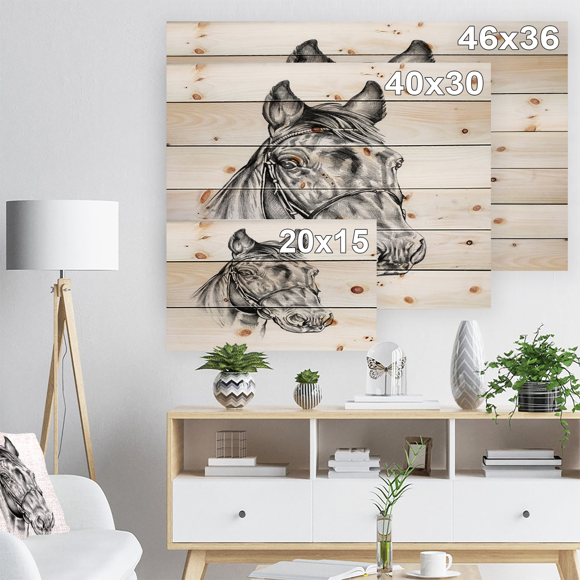 Design Art Designart Freehand Horse Head Pencil Drawing Animal Print On Natural Pine Wood White Walmart Com Walmart Com