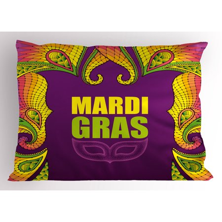 (Mardi Gras Pillow Sham Dotwork Style Carnival Mask Colorful Lace Inspired Design Element, Decorative Standard Queen Size Printed Pillowcase, 30 X 20 Inches, Purple Lime Green Yellow, by Ambesonne)