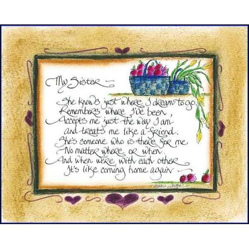 LPG Greetings Life Lines Sister by Lori Voskuil-Dutter Graphic Art Plaque