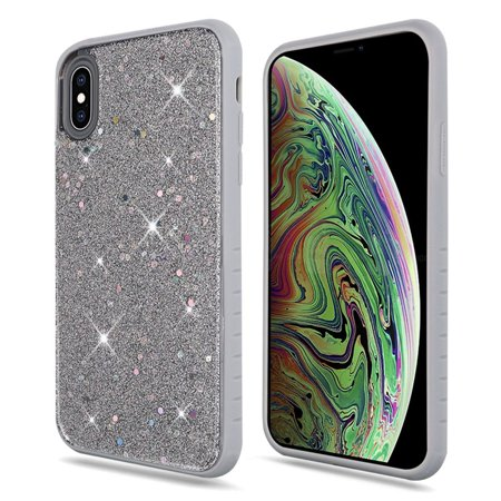 Apple iPhone XS Max Case, by Insten Full Frozen Crude Glitter Dual Layer [Shock Absorbing] Hybrid Hard Plastic/Soft TPU Rubber Case Cover For Apple iPhone XS Max, Silver - image 1 of 3