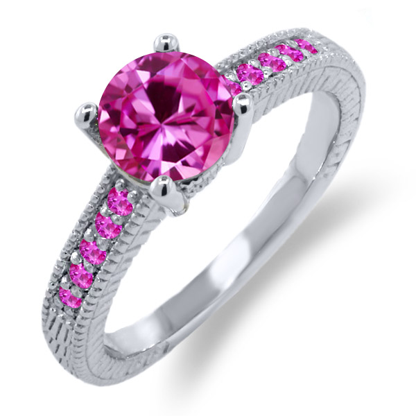 1.84 Ct Round Pink Created Sapphire Sapphire 925 Sterling Silver Engagement Ring