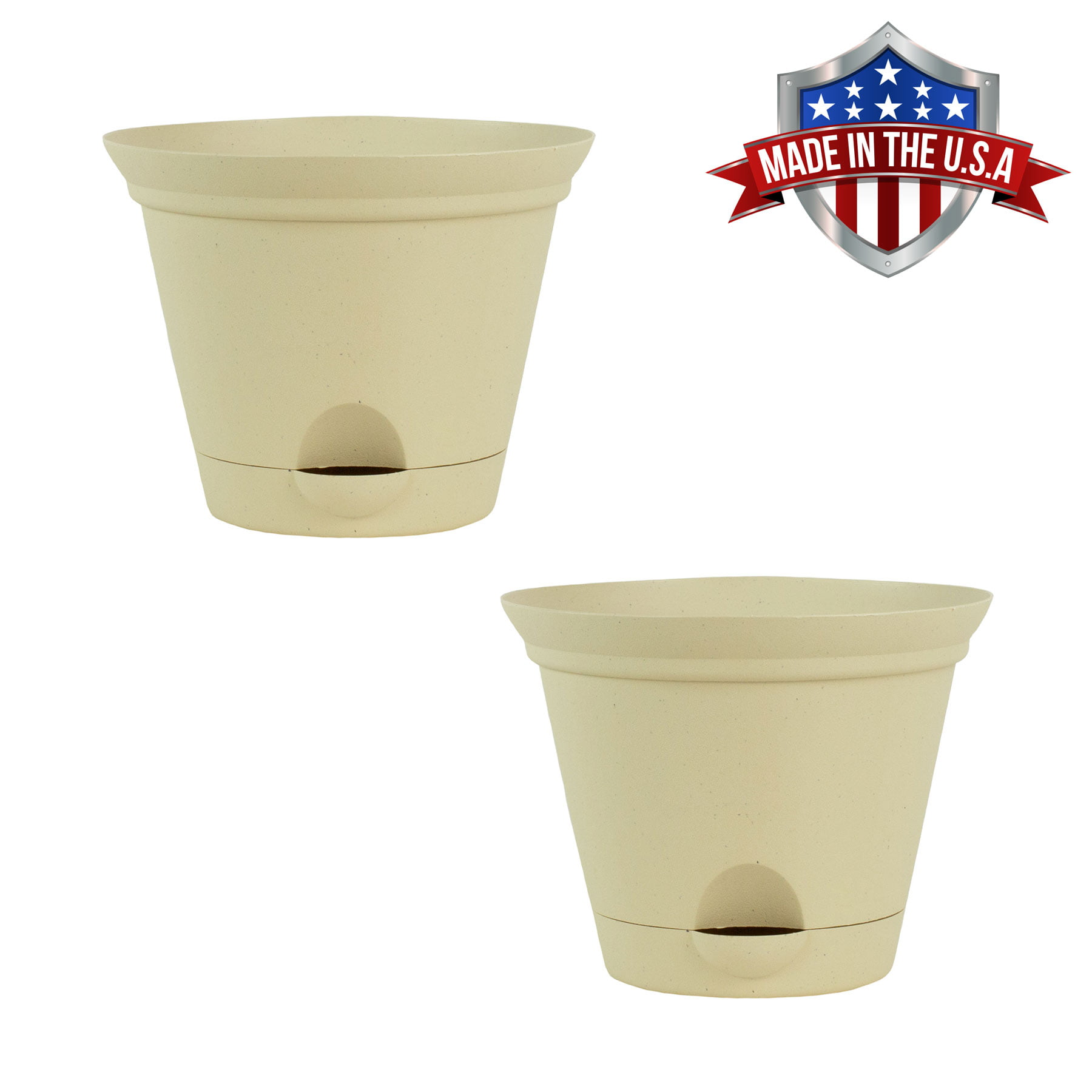 2 Pack of 9.5 Inch Latte Quartz Plastic Self Watering Flare Flower Pot or Garden Planter by HowPlumb