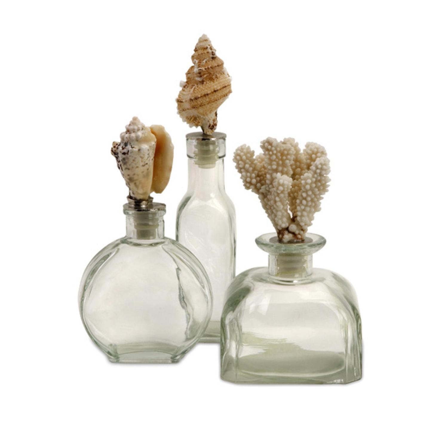 Decorative Clear Glass Bottles Prepossessing Set Of 3 Decorative Clear Glass Bottles With Nautical Sea Shell Design Ideas