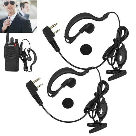 ESYNIC 2pcs Walkie Talkie Earphone Radio canalphone Radio Walkie Talkie Earphone Headset canalphone 2 Pin Two Way Radio Headset Earpiece Mic Black for Walkie Talkie ()