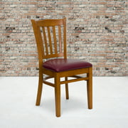 Flash Furniture Vertical Slat Back Cherry Wood Restaurant Chair - Burgundy Vinyl Seat