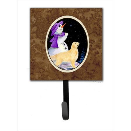 4.25 x 6 in. Snowman with Golden Retriever Leash Or Key Hook