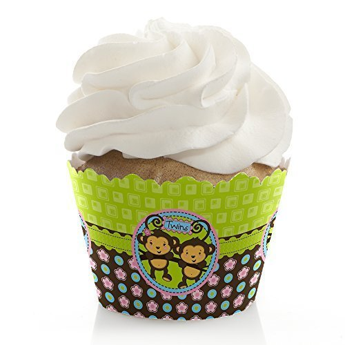 Twin Monkeys 1 Boy & 1 Girl - Party Cupcake Wrappers (set of 12)