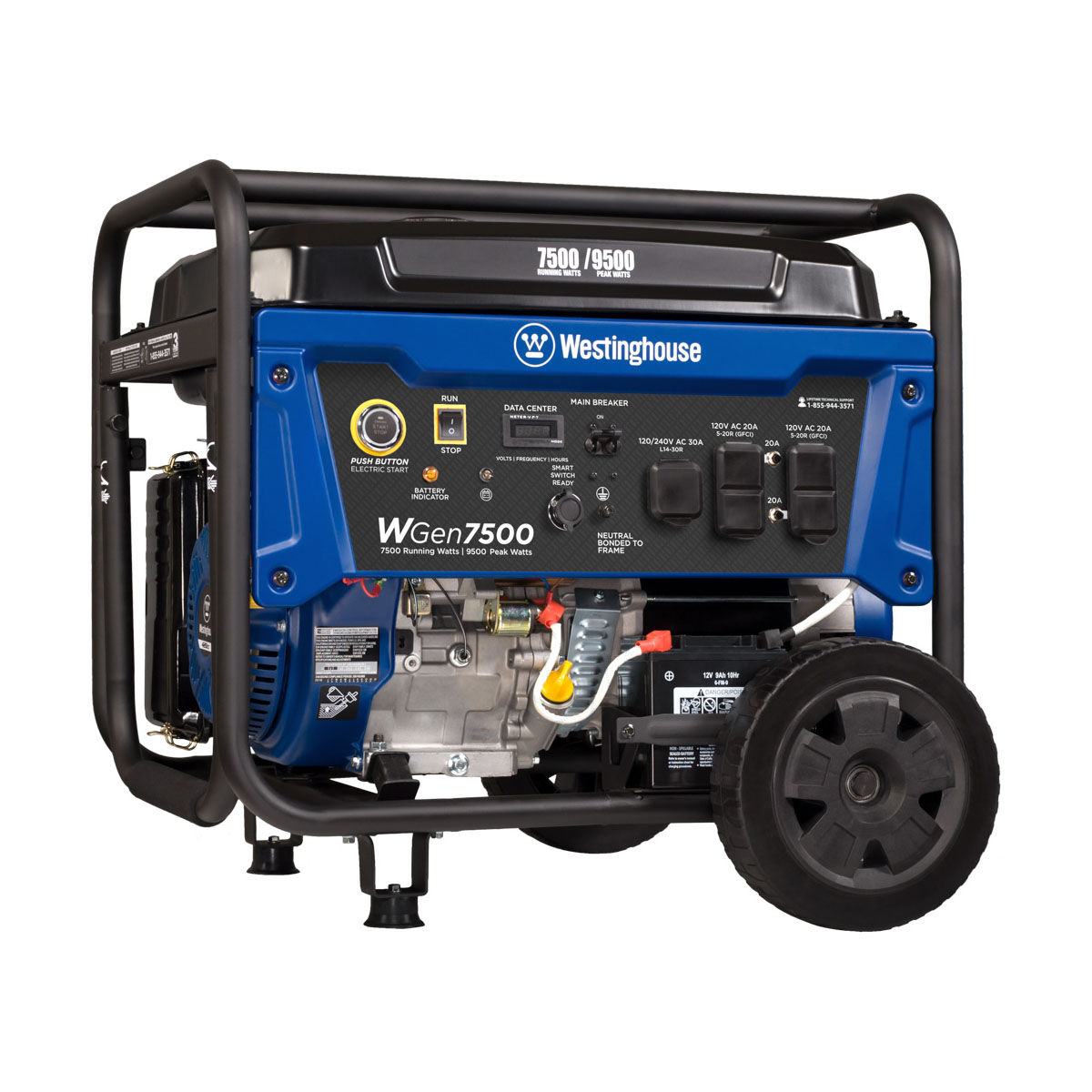 Westinghouse WGen7500 Gas Powered Portable Generator with Electric Start - 7500 Running Watts and 9500 Peak Watts - CARB Compliant