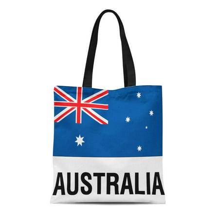 ASHLEIGH Canvas Tote Bag Globe Flag of Australia Text Trotting Travel World Souvenir Reusable Handbag Shoulder Grocery Shopping (Best Australian Souvenir Ideas)