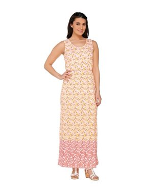 Liz Claiborne NY Geo Border Print Maxi Dress A262969