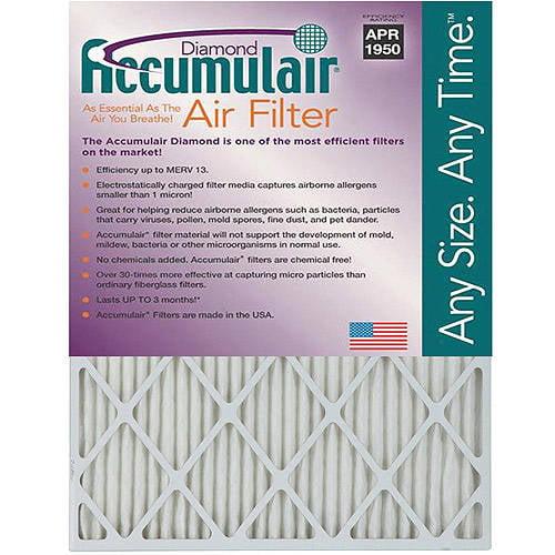 """Accumulair Diamond 1"""" Air Filter, 4-Pack"""