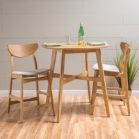 "Noble House Mitchell 3-Piece 36"" Counter Height Dining Set, Light Beige"