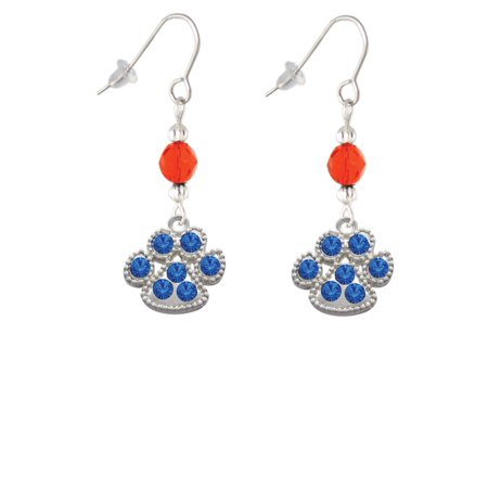 Large Paw with Blue Crystals Orange Bead French Earrings