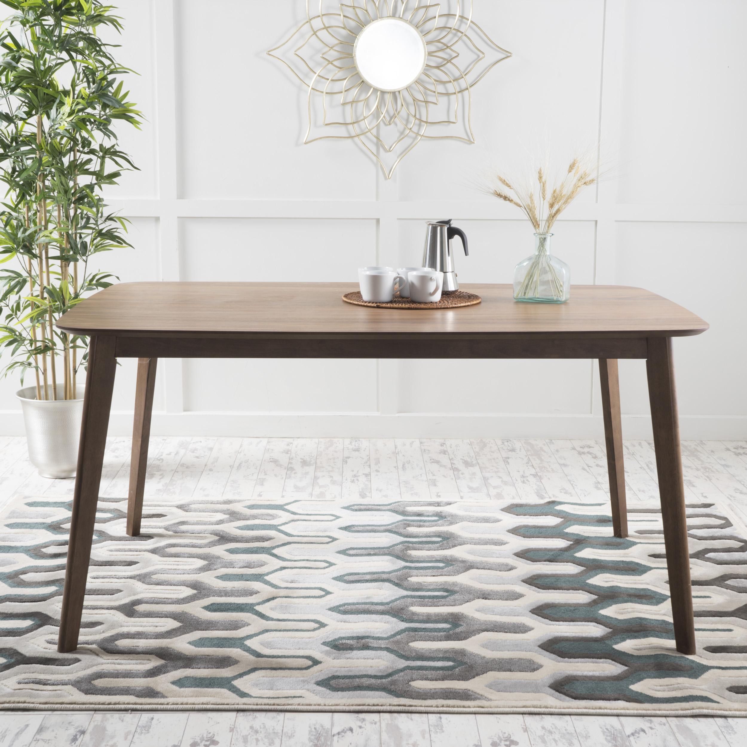 Noble House Natalia Natural Walnut Finish Mid Century Modern Wood Dining  Table