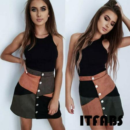 Women High Waist Suede Button Short Mini Skirts dress A-Line Mini Skirt
