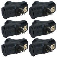 QVS 3-Outlet 3-Prong AC Plug, 6-Pack