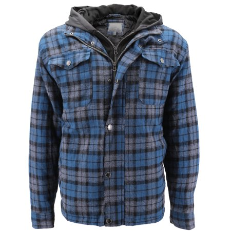 Cotton Flannel Liner (vkwear Men's Quilted Lined Cotton Plaid Flannel Layered Hoodie Jacket (Blue,)