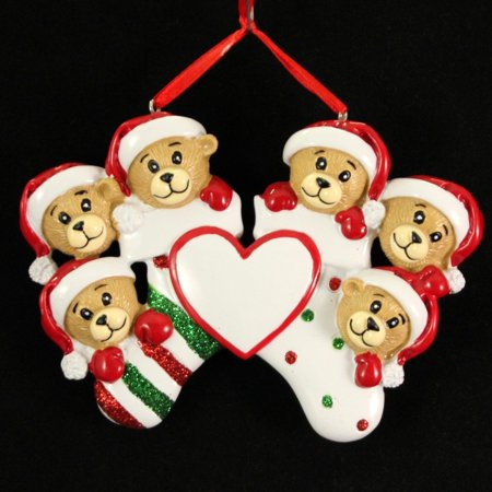 Personalized Bear Family 6 members Christmas Holiday Gift Expertly Handwritten Ornament, FREE PERSONALIZATION By Polar X - Holiday Personalized Gifts