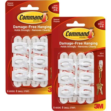 Mini Snap Gate Hook - Command Mini Hooks, White, 6 Hooks, 8 Strips, 2 pack