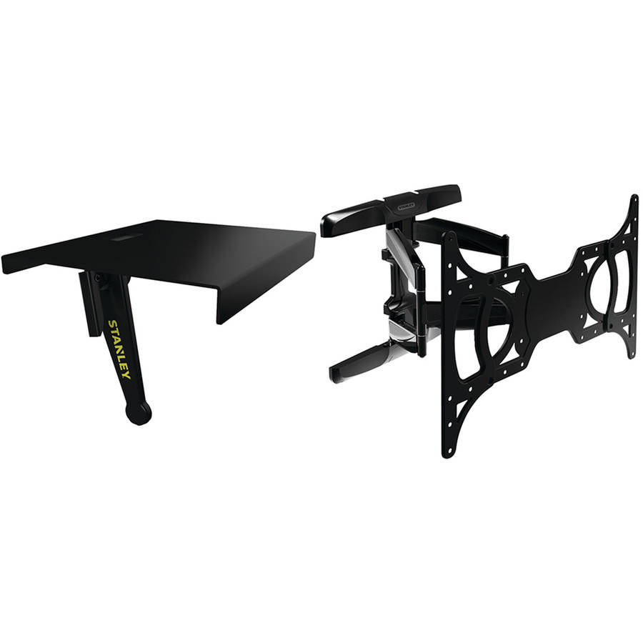 "Stanley TLX-220FM 37""-65"" Full-Motion Flat Panel Mount & ATS-106 TV Top Shelf"