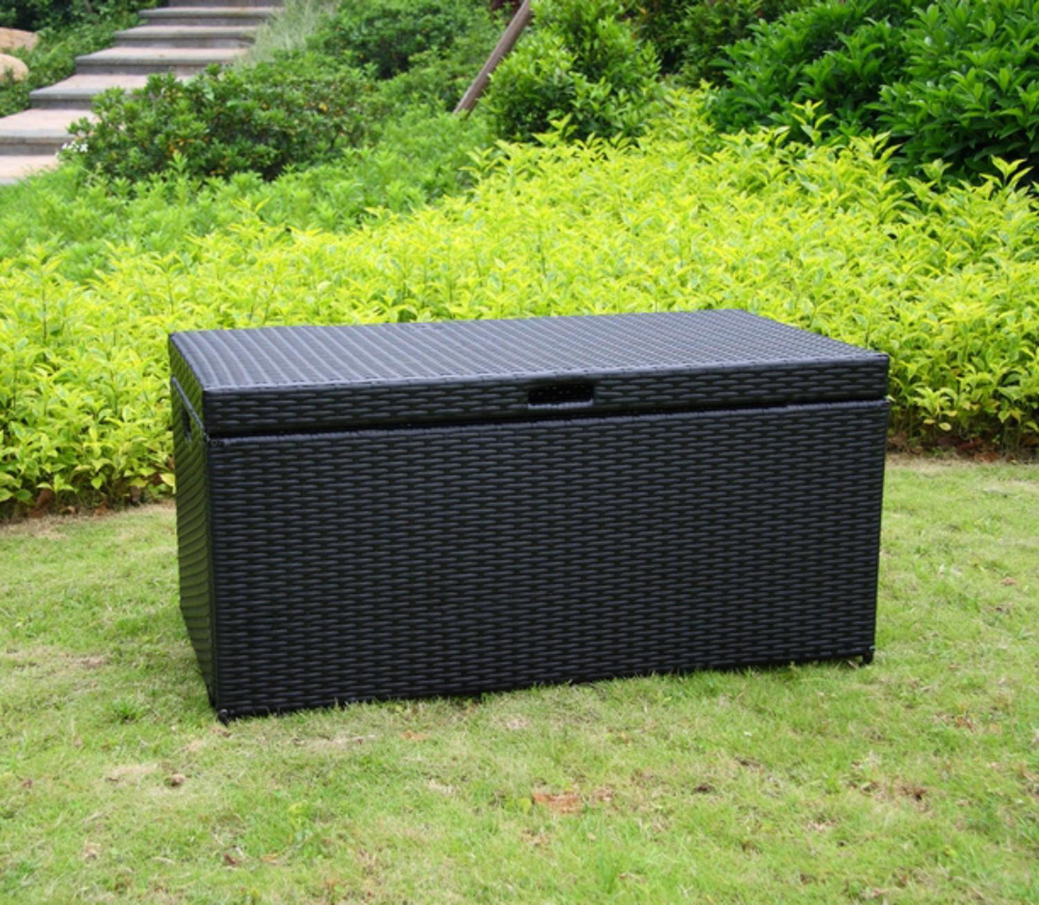 "40"" Black Resin Wicker Outdoor Patio Garden Hinged Lidded Storage Deck Box by CC Outdoor Living"