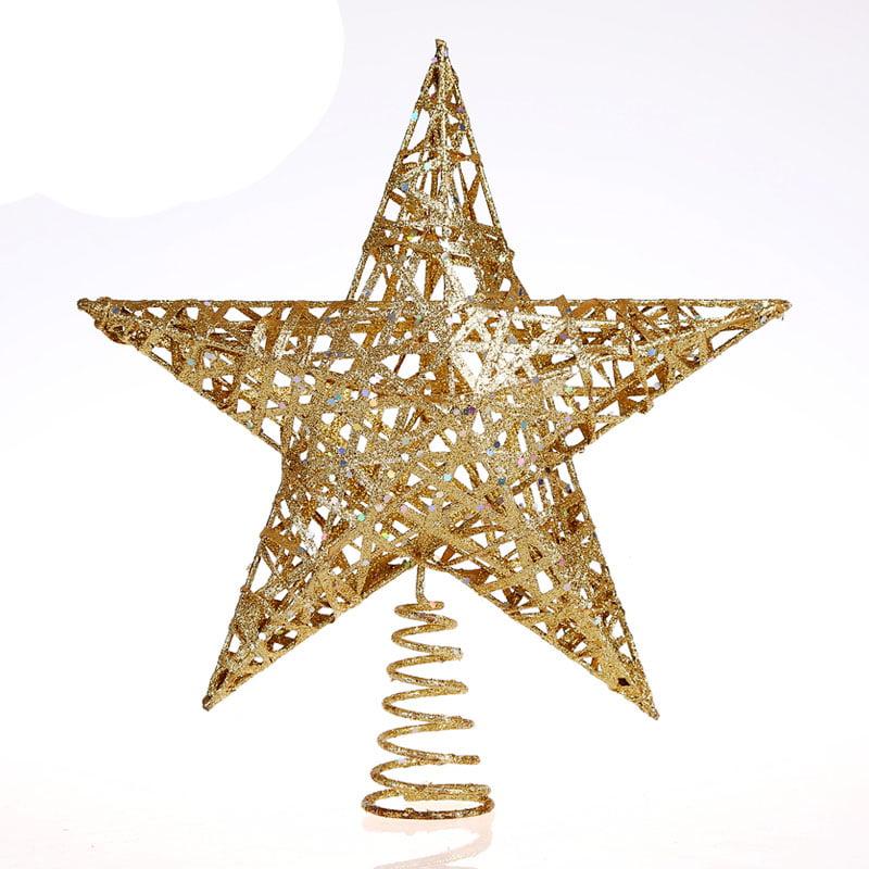 11.8-Inch (30cm) Elegant Gold Glitter Sparkle Swirl Christmas Tree Topper Star Ornaments Decoration