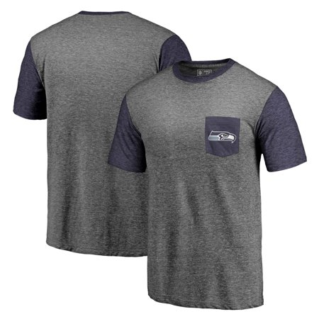 Seattle Seahawks NFL Pro Line by Fanatics Branded Refresh Pocket T-Shirt - Heathered Gray/College