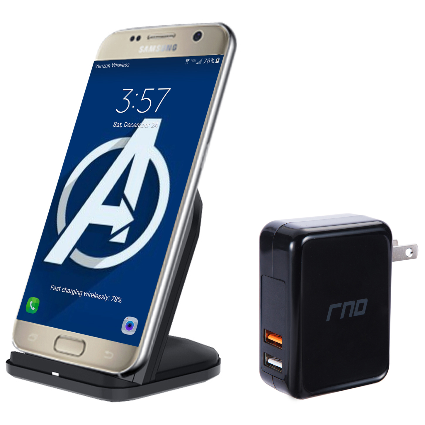 RNDs Fast Charge Wireless Charging Stand for Samsung Galaxy (S9 S8, S7), Note (5, 8), and other QI Enabled Devices (Dual Charger included) (black)