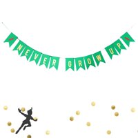 Never Grow Up Birthday Banner Lost Boys Peter Pan Party Banner Decoration Baby Birthday Metallic Gold Green Red Bunting Garland Card Stock