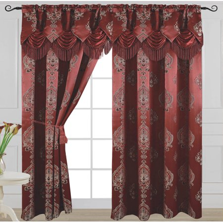 Attached Valance - Luxury Jacquard Curtain Panel with Attached Waterfall Valance, 54 by 84-Inch Alexa Burgundy