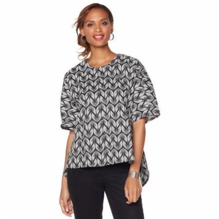 Melissa Mccarthy Halloween (MELISSA McCARTHY Skimmer Top Blouse with Pleated Back - BLACK / WHITE)