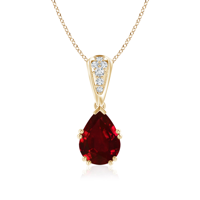 Angara Natural Ruby Necklace in Platinum - July Birthstone Pendant F98kCbhUc