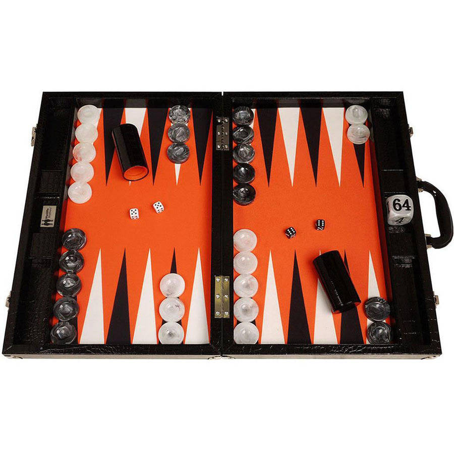 Wycliffe Brothers Tournament Backgammon Set, Black Croco with Orange Field, Gen III by Wycliffe Brothers