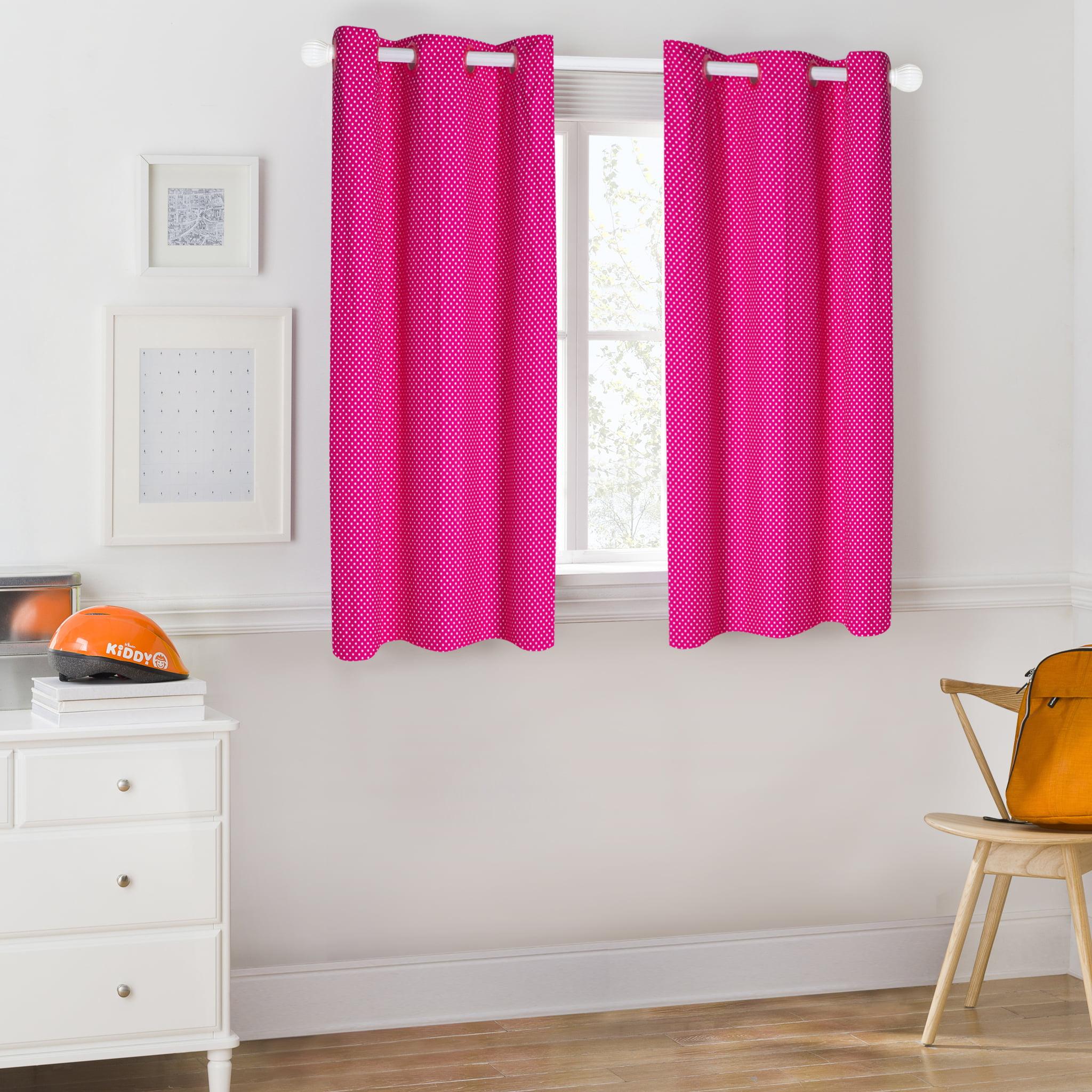 Mainstays Kids Pink Polka Dot Room Darkening Coordinating Window Curtain