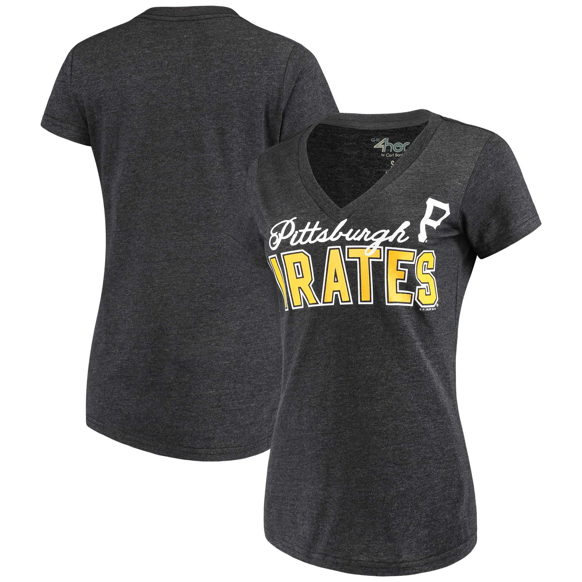 Pittsburgh Pirates G-III 4Her by Carl Banks Women's Home Run V-Neck T-Shirt - Black