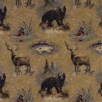 Designer Fabrics A027 54 in. Wide , Rustic Bears, Fish, Ducks, Deer And Trees, Themed Tapestry Upholstery Fabric